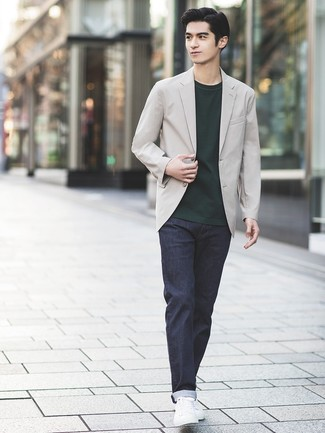 How to wear: white leather low top sneakers, navy jeans, dark green crew-neck t-shirt, grey blazer