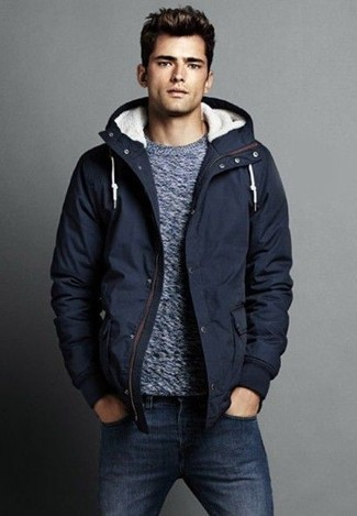 How to wear: navy jeans, grey crew-neck sweater, navy parka
