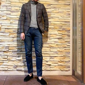 How to wear: black suede loafers, navy jeans, grey turtleneck, charcoal plaid blazer