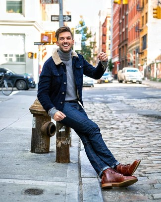 How to wear: brown leather casual boots, navy jeans, grey turtleneck, navy corduroy shirt jacket
