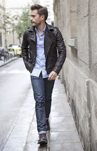 How to Wear Dark Purple Leather Casual Boots For Men: You'll be surprised at how extremely easy it is for any gent to get dressed like this. Just a black leather biker jacket and navy jeans. Want to dial it up when it comes to footwear? Slip into dark purple leather casual boots.