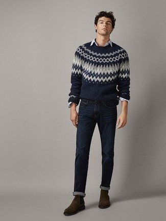 How to Wear Navy Jeans For Men: A navy fair isle crew-neck sweater and navy jeans are a great combination worth incorporating into your day-to-day fashion mix. Dark brown suede chelsea boots are guaranteed to give an extra dose of refinement to your look. As you head into your 30s, you want to start dressing like a grown-up. If that's the case, inspiration like this comes in handy.