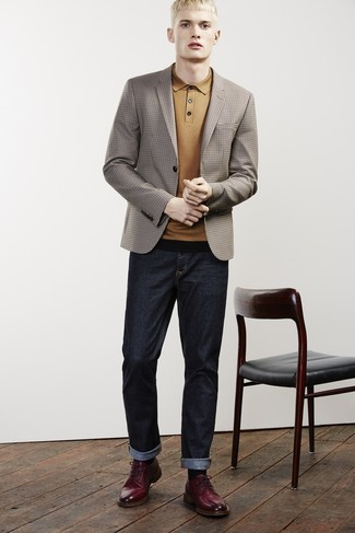 How to wear: burgundy leather derby shoes, navy jeans, mustard polo, brown check blazer