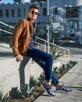How to wear: navy print athletic shoes, navy jeans, navy floral long sleeve shirt, brown leather bomber jacket