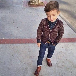 How to wear: brown boots, navy jeans, navy denim long sleeve shirt, burgundy cardigan