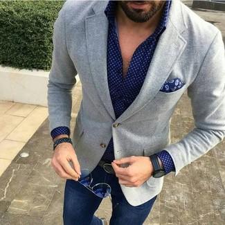How to wear: navy paisley pocket square, navy jeans, navy polka dot long sleeve shirt, grey wool blazer