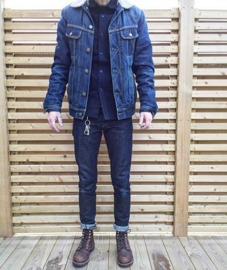 How to wear: dark brown leather casual boots, navy jeans, navy long sleeve shirt, navy denim jacket