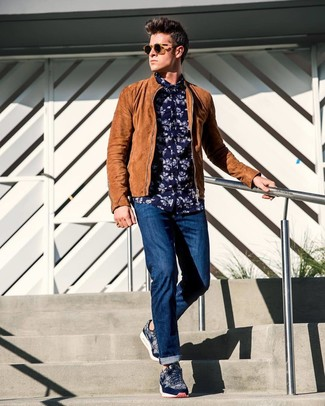 How to wear: navy print low top sneakers, navy jeans, navy floral long sleeve shirt, tan suede bomber jacket