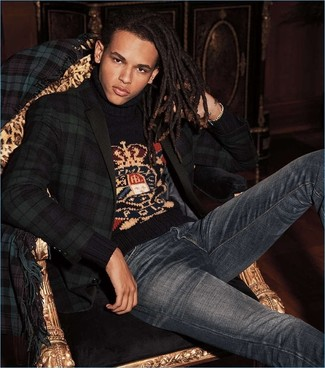 Men's Looks & Outfits: What To Wear In 2020: The styling capabilities of a navy and green plaid blazer and navy jeans guarantee they will always be on constant rotation.