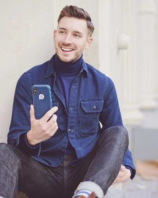 How to wear: navy jeans, navy turtleneck, navy shirt jacket