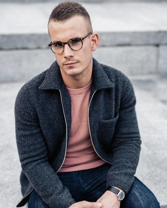 How to wear: black leather watch, navy jeans, pink crew-neck sweater, charcoal fleece bomber jacket