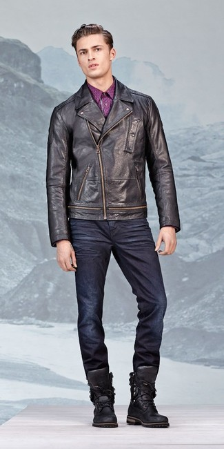 How to wear: black leather work boots, navy jeans, purple print long sleeve shirt, black leather biker jacket