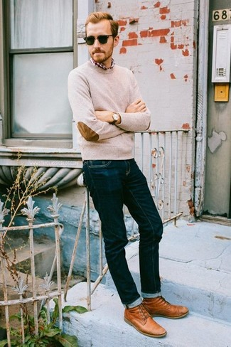 How to wear: tobacco leather casual boots, navy jeans, red and white plaid long sleeve shirt, beige crew-neck sweater