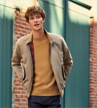 How to wear: navy jeans, tan crew-neck sweater, beige harrington jacket