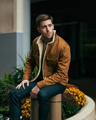 How to wear: navy jeans, tan turtleneck, tobacco shirt jacket