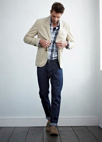How to wear: brown casual boots, navy jeans, white and navy plaid long sleeve shirt, beige cotton blazer