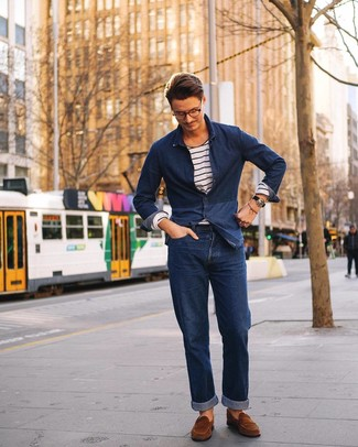 How to wear: brown suede loafers, navy jeans, white and navy horizontal striped long sleeve t-shirt, navy denim shirt