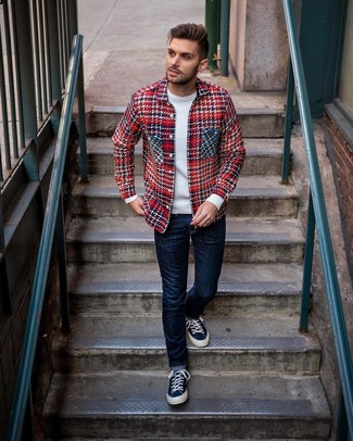How to wear: navy canvas low top sneakers, navy jeans, white crew-neck sweater, red plaid shirt jacket