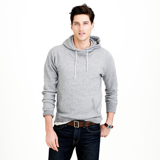 How to wear: dark brown leather belt, navy jeans, white crew-neck t-shirt, grey hoodie