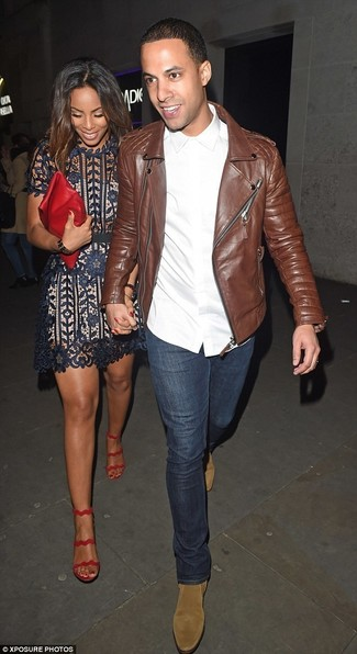 How to wear: tan suede chelsea boots, navy jeans, white dress shirt, brown leather biker jacket