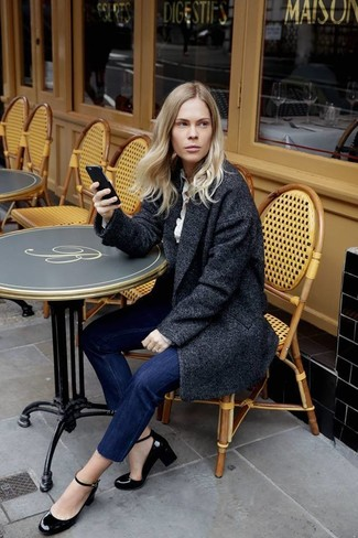 How to wear: black leather pumps, navy jeans, white dress shirt, charcoal coat