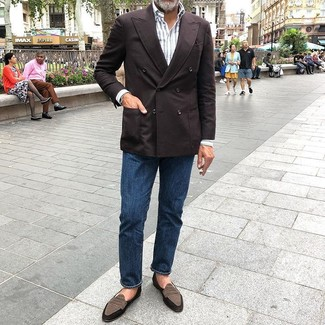 How to wear: brown suede loafers, navy jeans, white vertical striped long sleeve shirt, dark brown double breasted blazer