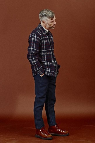 How to wear: tobacco leather work boots, navy jeans, white long sleeve shirt, navy plaid shirt jacket