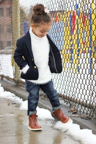 How to wear: brown boots, navy jeans, white sweater, navy blazer