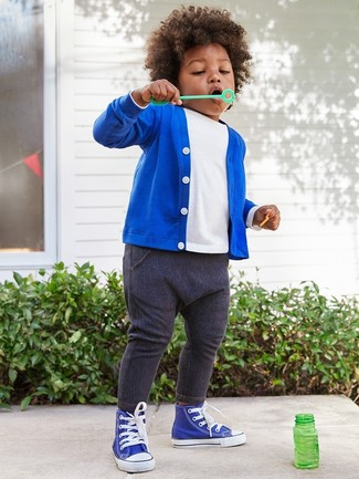 Boys' Blue Sneakers, Navy Jeans, White T-shirt, Blue Cardigan