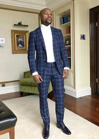 How to wear: navy leather oxford shoes, white dress shirt, navy check suit