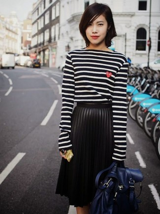 How to wear: navy leather satchel bag, black pleated leather midi skirt, black and white horizontal striped long sleeve t-shirt