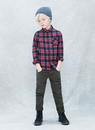 How to wear: navy plaid long sleeve shirt, olive jeans, black boots, grey beanie