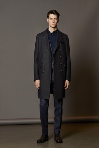 How to wear: dark brown leather monks, navy mock-neck sweater, navy check suit, black overcoat