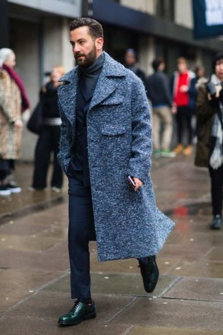 How to wear: navy overcoat, navy suit, charcoal turtleneck, dark green leather derby shoes