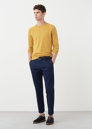 How to Wear a Mustard Crew-neck Sweater For Men: Consider teaming a mustard crew-neck sweater with navy chinos if you want to look casually cool without too much effort. For something more on the dressier side to finish this outfit, introduce navy suede oxford shoes to the equation.