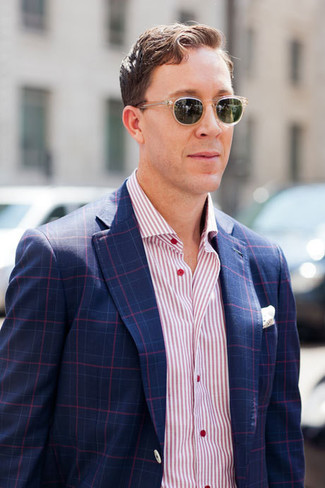 How to wear: navy plaid blazer, pink vertical striped long sleeve shirt, white pocket square