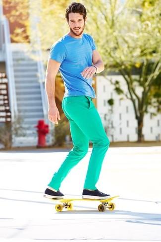 How to wear: no show socks, navy plimsolls, mint chinos, aquamarine horizontal striped crew-neck t-shirt