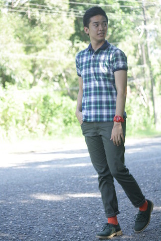 How to wear: navy plaid polo, dark green chinos, olive suede derby shoes, orange socks
