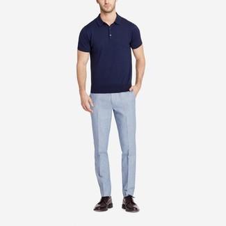 Men S Navy Polo Light Blue Linen Dress Pants Dark Brown Leather