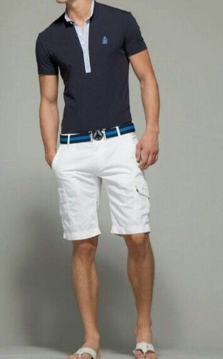 How to wear: navy polo, white shorts, white canvas sandals, navy horizontal striped canvas belt