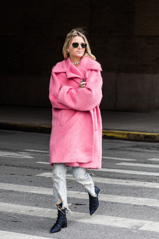 How to wear: navy satin ankle boots, light blue ripped jeans, hot pink fur coat