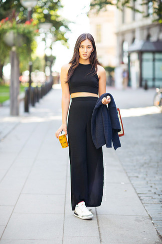 How to wear: navy shawl cardigan, black cropped top, black maxi skirt, white low top sneakers