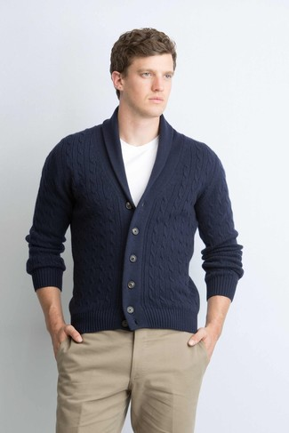 How to wear: navy shawl cardigan, white crew-neck t-shirt, khaki chinos