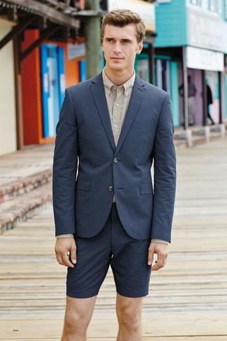 How to wear: navy shorts, beige dress shirt, navy blazer