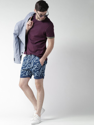 How to wear: white low top sneakers, navy print shorts, dark purple crew-neck t-shirt, light blue blazer