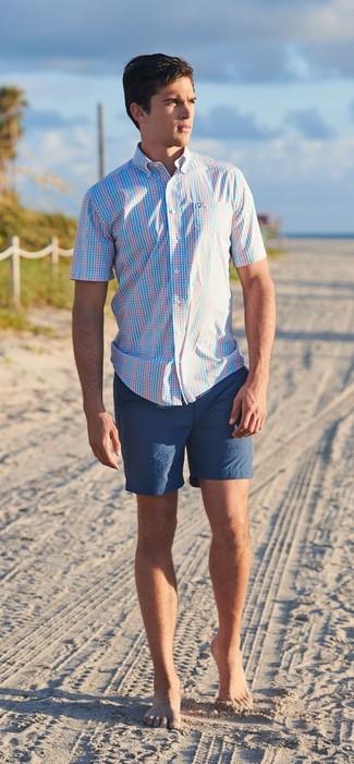 How to wear: navy shorts, light blue plaid short sleeve shirt