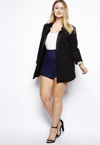 How to wear: black suede heeled sandals, navy shorts, white crew-neck t-shirt, black blazer