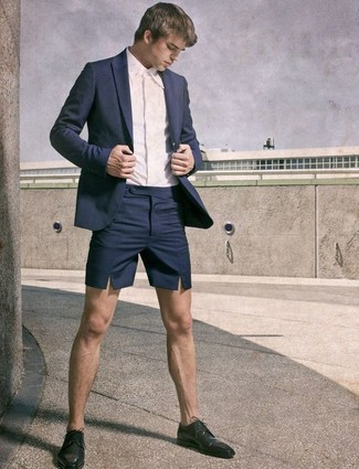 How to wear: black leather derby shoes, navy shorts, white dress shirt, navy blazer