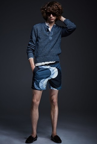 How to wear: black leather tassel loafers, navy print shorts, white long sleeve henley shirt, navy henley sweater
