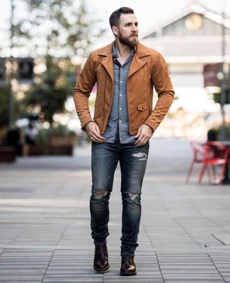 How to wear: dark brown leather casual boots, navy ripped skinny jeans, blue chambray long sleeve shirt, brown leather biker jacket